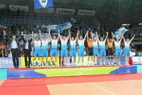 The players of Dinamo MOSCOW celebrate on the podium after seizing the 2012 CEV Volleyball Cup this past Sunday in Russia's capital city