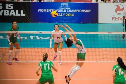 Petya Barakova sets the ball for Bulgaria