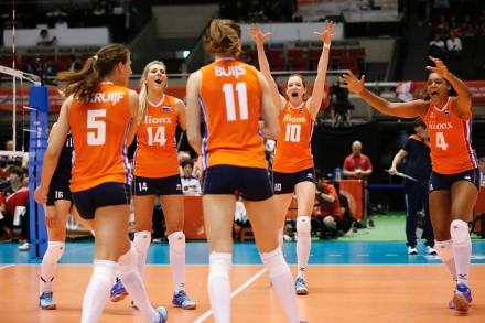 Team Netherlands celebrate a point