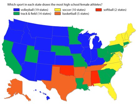 Volleyball is tops in 19 states